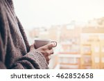 man is drinking coffee on a... | Shutterstock . vector #462852658