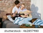 romantic young couple playing... | Shutterstock . vector #462857980