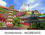 Color Painting Beautiful Scenery Old Sacred Buddhist Kek Lok Si Temple in Penang, Malaysia in Summer on Sandstone Texture