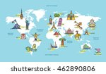 world map with famous country... | Shutterstock .eps vector #462890806