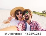 Happy  Traveling  Couple In...
