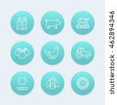farm  ranch line icons  hen ...   Shutterstock .eps vector #462894346