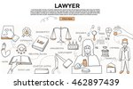 doodle style. lawyer concept.... | Shutterstock .eps vector #462897439