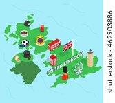united kingdom map in isometric ... | Shutterstock .eps vector #462903886