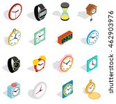 Clock Icons Set In Isometric 3...
