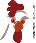 Hen face vector. Vector illustration of cute funny hen face or head in cartoon style. Red and white chicken face. Poultry icon. - stock vector