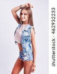 young sexy woman wearing jeans... | Shutterstock . vector #462932233