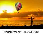 hot air balloon over the beach... | Shutterstock . vector #462933280
