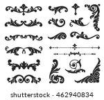 Ornate scroll and decorative design elements. Vintage Vignette Borders Set. Calligraphic Vector illustration isolated. | Shutterstock vector #462940834