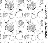 fresh pomegranates hand drawn... | Shutterstock .eps vector #462945724