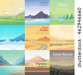 set cute cartoon landscapes... | Shutterstock .eps vector #462946660