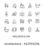 spa icon set isolated on white... | Shutterstock . vector #462954256