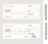 bank check template set. blank... | Shutterstock . vector #462954490