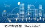 urban panorama  office... | Shutterstock .eps vector #462966634
