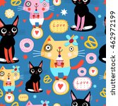 seamless pattern with funny... | Shutterstock .eps vector #462972199