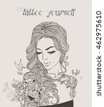 young beautiful woman with... | Shutterstock .eps vector #462975610