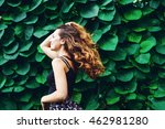 young woman  against background ... | Shutterstock . vector #462981280