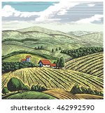 rural landscape in graphic... | Shutterstock .eps vector #462992590