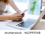 typing on smart phone | Shutterstock . vector #462995548