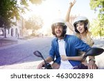 couple riding a motorbike... | Shutterstock . vector #463002898