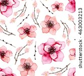 watercolor floral seamless... | Shutterstock . vector #463003213
