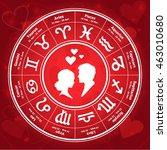 love horoscope in the circle   Shutterstock .eps vector #463010680