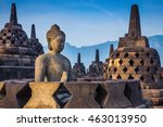 ancient buddha statue and stupa ... | Shutterstock . vector #463013950