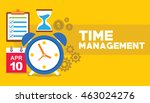time management clock flying... | Shutterstock .eps vector #463024276