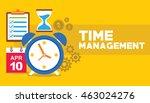 time management clock flying... | Shutterstock .eps vector #463024276