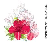 vector bouquet with chinese... | Shutterstock .eps vector #463028833