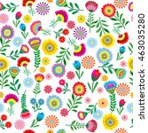 seamless pattern with flower... | Shutterstock .eps vector #463035280