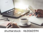 cup of coffee and smart phone ... | Shutterstock . vector #463060594