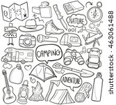 camping adventure doodle icons... | Shutterstock .eps vector #463061488