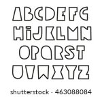 black contour cartoon alphabet... | Shutterstock .eps vector #463088084