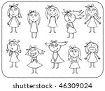 girls emotions   contour | Shutterstock .eps vector #46309024