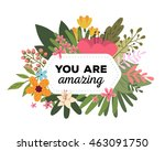 vector illustration of floral... | Shutterstock .eps vector #463091750