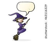 cartoon witch riding broomstick ... | Shutterstock . vector #463116329