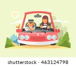 safe driving in car | Shutterstock .eps vector #463124798