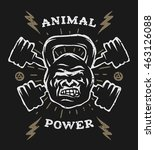 two barbell and head gorilla... | Shutterstock .eps vector #463126088