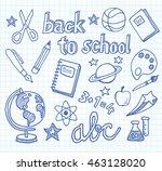 back to school   doodles and... | Shutterstock .eps vector #463128020