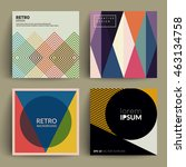 retro covers set. colorful... | Shutterstock .eps vector #463134758