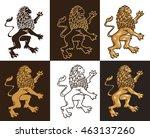 six heraldic lions. a vector... | Shutterstock .eps vector #463137260