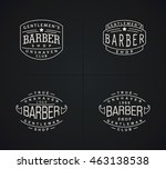 four emblems for barber shop in ... | Shutterstock . vector #463138538