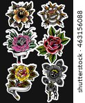 traditional tattoo roses set... | Shutterstock .eps vector #463156088