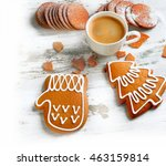 cup of coffee with christmas... | Shutterstock . vector #463159814