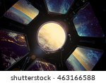 Earth And Galaxy In Spaceship...