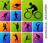 set of sports icons  basketball ...   Shutterstock . vector #463169084
