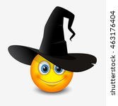 Cute Emoticon Wearing Witch Ha...