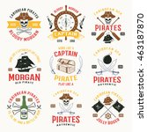 pirates colored emblems with... | Shutterstock .eps vector #463187870