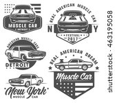 set of muscle car for logo and... | Shutterstock .eps vector #463195058